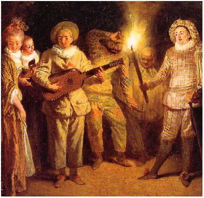 <i>L'Amour au Th&eacute;âtre Italien</i> (Scaramuccia, Pierrot, Arlecchino, Mezzetino and other Masks, detail), Antoine Watteau, 1718