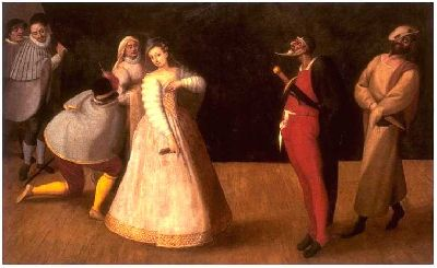 Performance by the <i>Gelosi</i> with Isabella Andreini (?) as Colombina, Mus&eacute;e Carnavalet, Paris</i> (Scaramuccia, Pierrot, Arlecchino, Mezzetino and Masks, detail), Antoine Watteau, 1718
