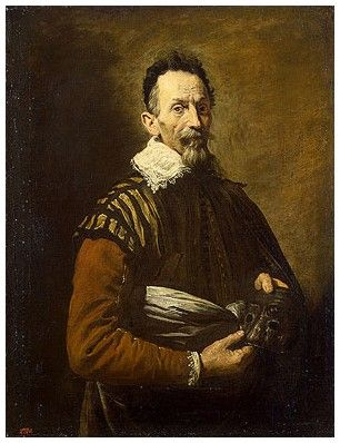 Tristano Martinelli (?) with a Mask of Arlecchino, portrait, Domenico Fetti