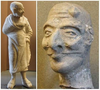 Maccus and head of an actor in an <i>Atellan</i> farce with half-mask, terracotta, First Century BC